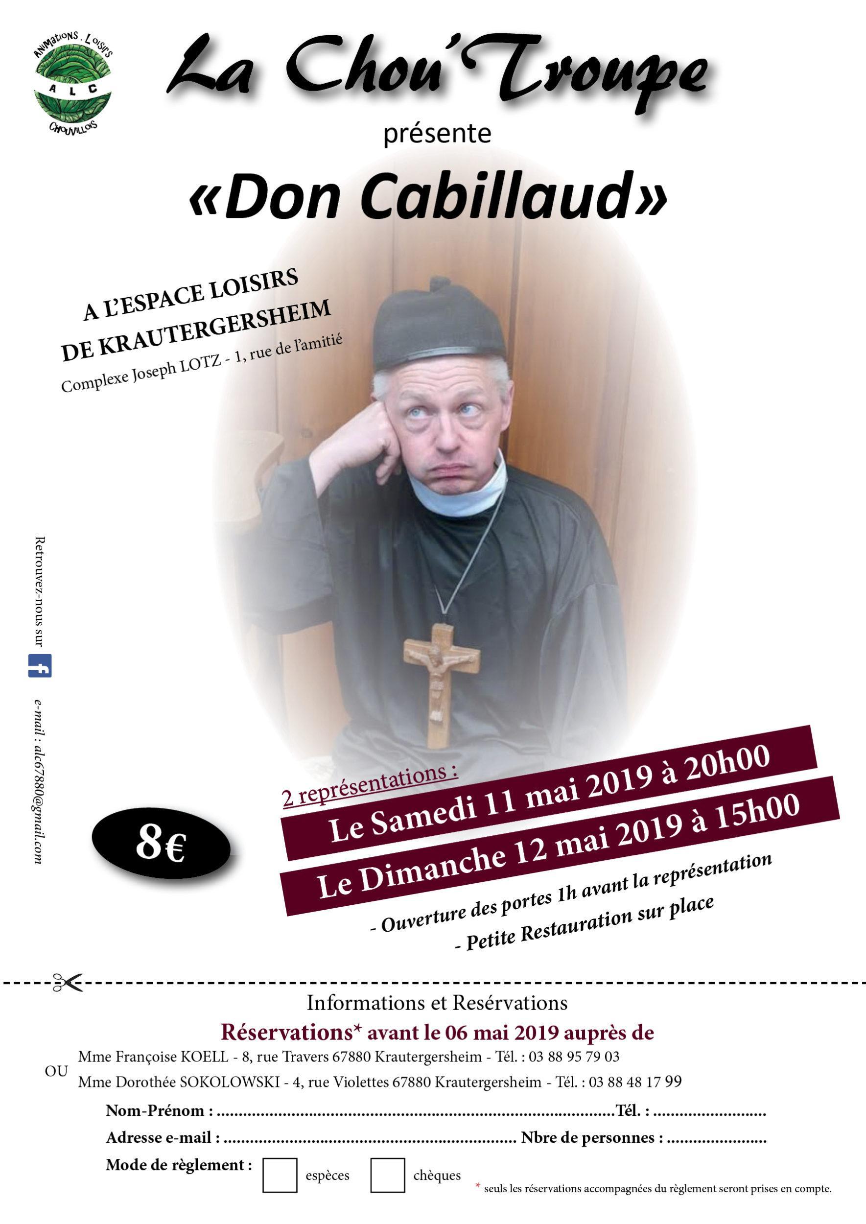 """REPRÉSENTATIONS THÉÂTRALES – """"DON CABILLAUD"""" 11 et 12 MAI 2019"""