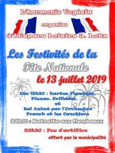 FESTIVITÉS DE LA FÊTE NATIONALE – 13 JUILLET 2019